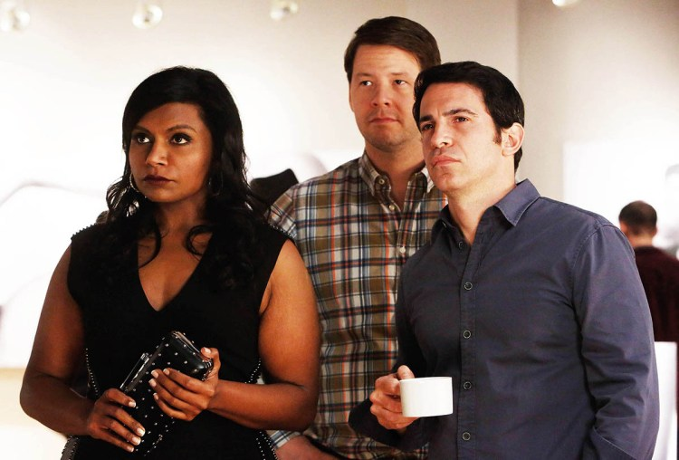 """THE MINDY PROJECT: Mindy (Mindy Kaling, L), Morgan (Ike Barinholtz, C) and Danny (Chris Messina, R) attend an art show in the """"Wiener Night"""" episode of THE MINDY PROJECT airing Tuesday, Oct. 15 (9:30-10:00 PM ET/PT) on FOX. ©2013 Fox Broadcasting Co. Cr: Jordin Althaus/FOX"""