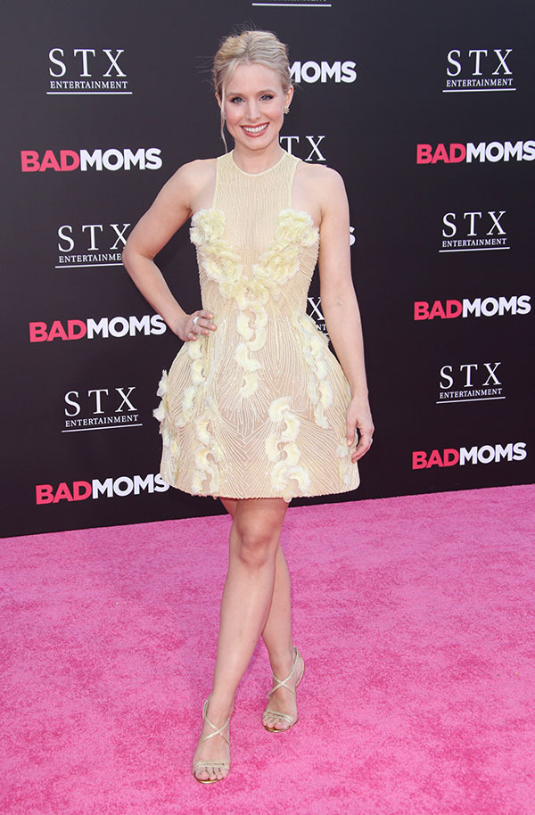 Mandatory Credit: Photo by Matt Baron/BEI/Shutterstock (5790320dy) Kristen Bell 'Bad Moms' film premiere, Los Angeles, USA - 26 Jul 2016 WEARING GEORGES CHAKRA COUTURE SAME OUTFIT AS CATWALK MODEL IN 5746268x* SHOES BY CHRISTIAN LOUBOUTIN