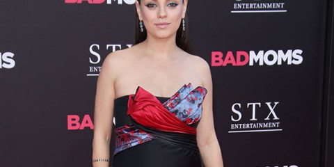 Mandatory Credit: Photo by Matt Baron/BEI/Shutterstock (5790320fq) Mila Kunis 'Bad Moms' film premiere, Los Angeles, USA - 26 Jul 2016 WEARING ATELIER VERSACE SAME OUTFIT AS CATWALK MODEL TAYLOR HILL IN 5744716e*