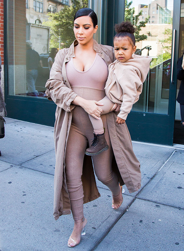kim-kardashian-north-west-matching-outfits-yeezy-show-spl