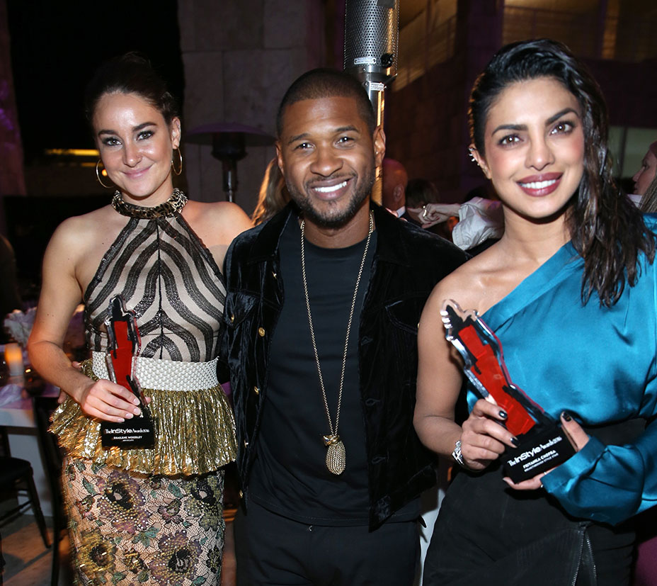 """LOS ANGELES, CA - OCTOBER 24: (L-R) Honoree Shailene Woodley, Advocate award recipient, recording artist Usher and honoree Priyanka Chopra, Breakthrough Style Star recipient, attend the Second Annual """"InStyle Awards"""" presented by InStyle at Getty Center on October 24, 2016 in Los Angeles, California.  (Photo by Jonathan Leibson/Getty Images for InStyle)"""