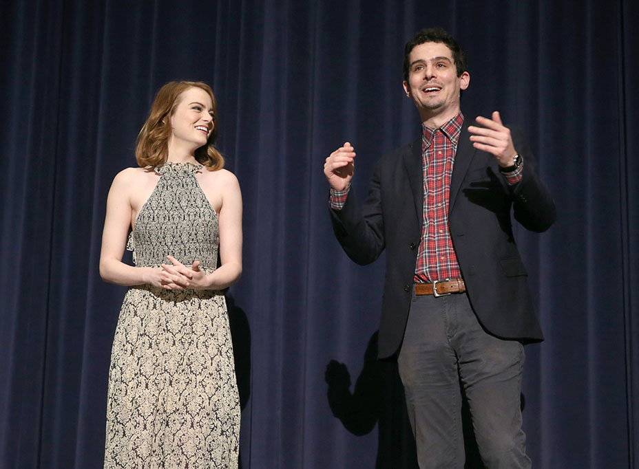 LOS ANGELES, CA - NOVEMBER 21:  Bulleit presents a Special Screening of Lionsgate's LA LA LAND with Emma Stone and Damien Chazelle on November 21, 2016 in Los Angeles, California.  (Photo by Todd Williamson/Getty Images for Lionsgate)