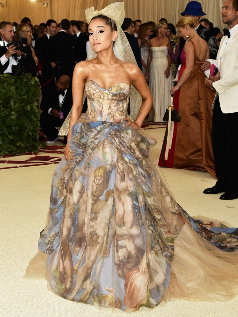 Mandatory Credit: Photo by Andrew H. Walker/REX/Shutterstock (9662977cu) Ariana Grande The Metropolitan Museum of Art's Costume Institute Benefit celebrating the opening of Heavenly Bodies: Fashion and the Catholic Imagination, Arrivals, New York, USA - 07 May 2018