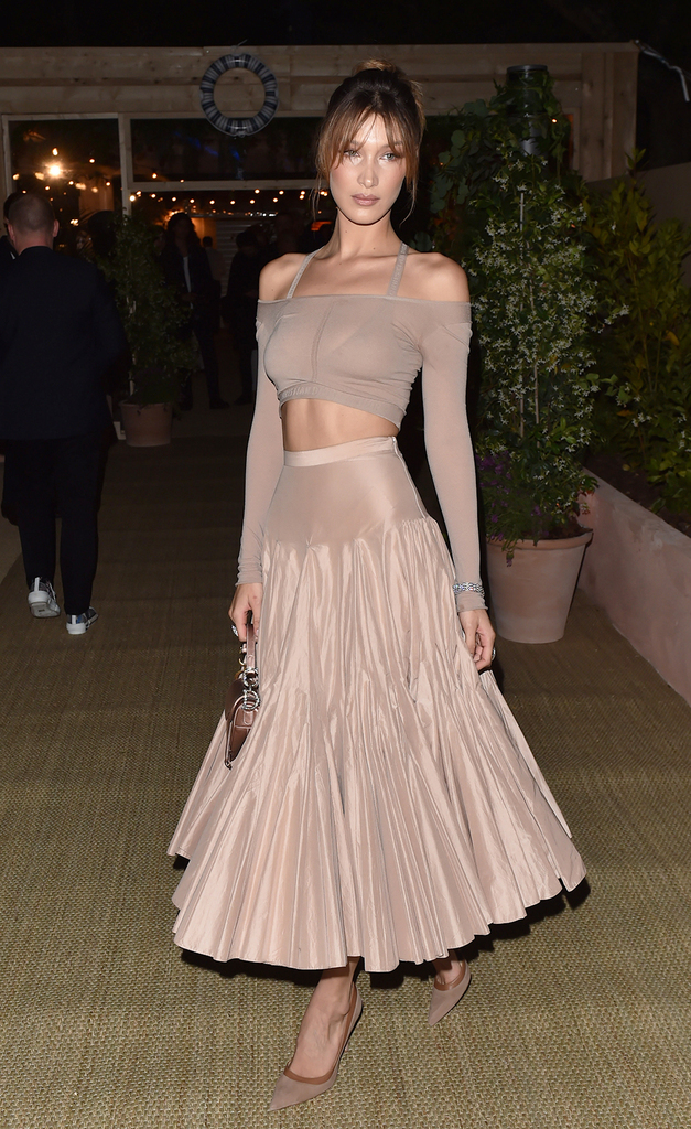Dior Dinner party at the Cannes film festival 2019. 15 May 2019 Pictured: Bella Hadid. Photo credit: Neil Warner/MEGA TheMegaAgency.com +1 888 505 6342 (Mega Agency TagID: MEGA420041_001.jpg) [Photo via Mega Agency]