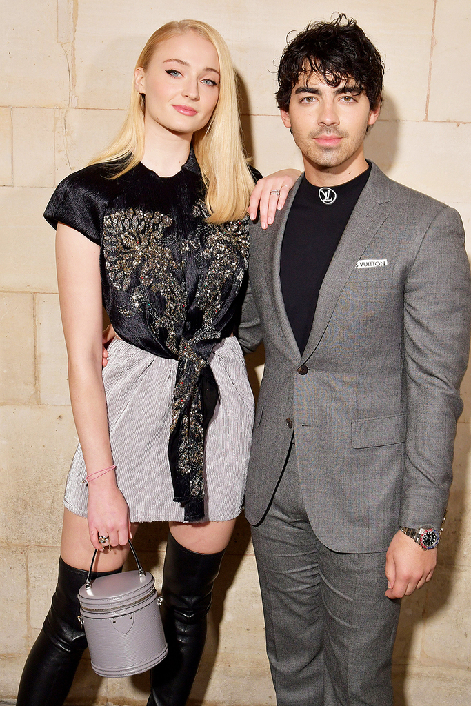 Mandatory Credit: Photo by Swan Gallet/WWD/REX/Shutterstock (9908242l) Sophie Turner and Joe Jonas in the front row Louis Vuitton show, Front Row, Spring Summer 2019, Paris Fashion Week, France - 02 Oct 2018