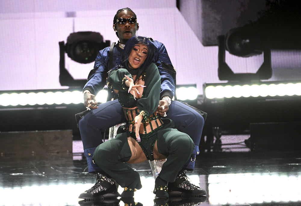 Cardi B, foreground, and Offset perform at the BET Awards on Sunday, June 23, 2019, at the Microsoft Theater in Los Angeles. (Photo by Chris Pizzello/Invision/AP)