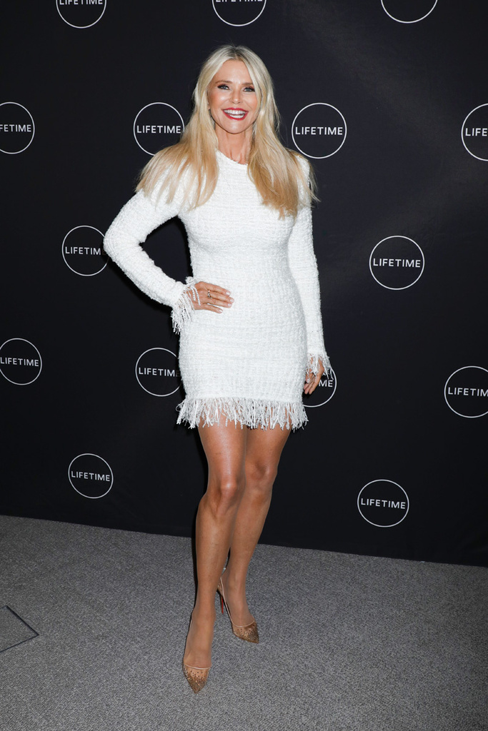 Mandatory Credit: Photo by Gregory Pace/REX/Shutterstock (10067400aa) Christie Brinkley 'American Beauty Star' TV show screening and panel, New York, USA - 17 Jan 2019 Wearing Balmain, Dress, Shoes by Christian Louboutin