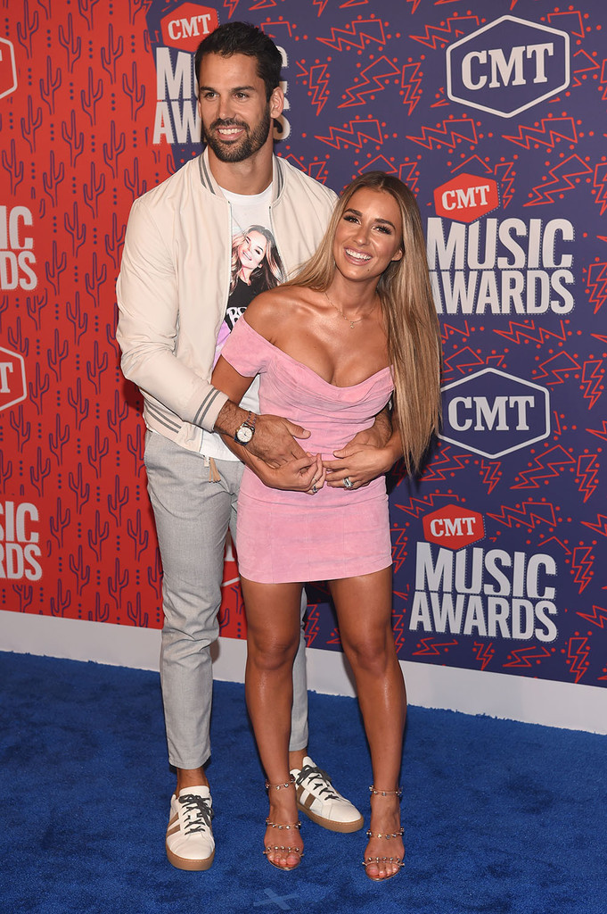 Mandatory Credit: Photo by Andrew H. Walker/Shutterstock (10281493bu) Jessie James Decker and Eric Decker CMT Music Awards, Arrivals, Bridgestone Arena, Nashville, USA - 05 Jun 2019