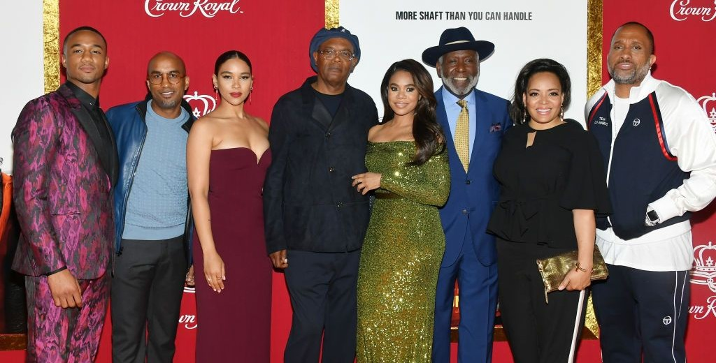 "NEW YORK, NY - JUNE 10:  (L-R) Jessie T. Usher, Tim Story,  Alexandra Shipp, Samuel L. Jackson, Regina Hall, Richard Roundtree, Luna Lauren Velez and Kenya Barris attend the ""Shaft"" premiere at AMC Lincoln Square Theater on June 10, 2019 in New York City.  (Photo by Mike Coppola/Getty Images)"