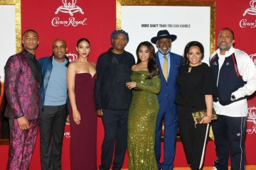 """NEW YORK, NY - JUNE 10:  (L-R) Jessie T. Usher, Tim Story,  Alexandra Shipp, Samuel L. Jackson, Regina Hall, Richard Roundtree, Luna Lauren Velez and Kenya Barris attend the """"Shaft"""" premiere at AMC Lincoln Square Theater on June 10, 2019 in New York City.  (Photo by Mike Coppola/Getty Images)"""